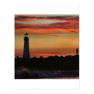 Sunset Santa Cruz Lighthouse Postcard