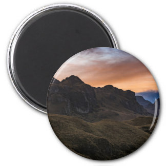 Sunset Scane at Cajas National Park in Cuenca Ecua 2 Inch Round Magnet