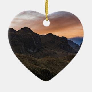 Sunset Scane at Cajas National Park in Cuenca Ecua Ceramic Heart Ornament