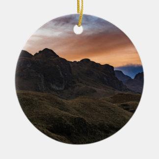 Sunset Scane at Cajas National Park in Cuenca Ecua Round Ceramic Ornament