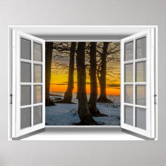Sunset Scene Fake Window View 3D Poster