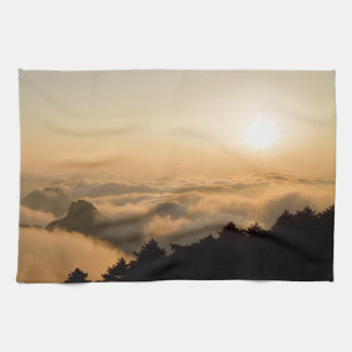 Sunset scene in a China Huang mountain Kitchen Towel