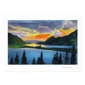 Sunset Scene on the Columbia River Postcard