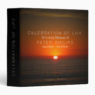 Sunset Sea Celebration of Life Guest Book Binder