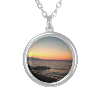 Sunset Sea Photo  Silver Plated Round Necklace
