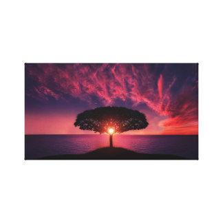 Sunset | Sea | Tree Canvas Print