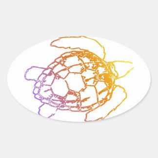 Sunset Sea Turtle Oval Sticker