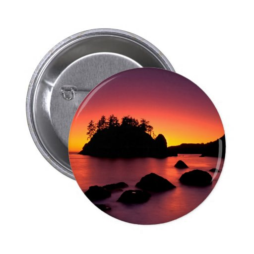 Sunset Seastacks Silhouetted Trinidad Button