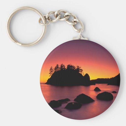 Sunset Seastacks Silhouetted Trinidad Key Chains
