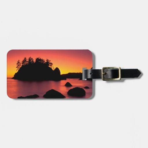 Sunset Seastacks Silhouetted Trinidad Luggage Tag
