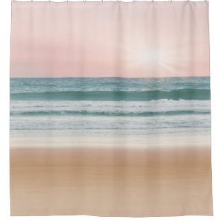 Sunset serenity blue rose quartz Shower Curtain