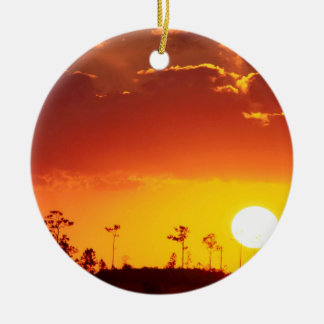 Sunset Setting Swampland Everglades Florida Ceramic Ornament