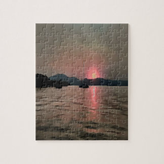 Sunset Shores In Pink And Grey Jigsaw Puzzle