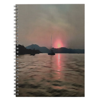 Sunset Shores In Pink And Grey Spiral Note Book