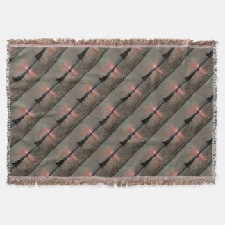 Sunset Shores In Pink And Grey Throw Blanket