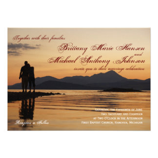 Sunset Silhouette Couple Lake Wedding Invitations