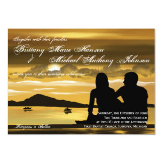 Sunset Silhouette Mountain Lake Wedding Invitation