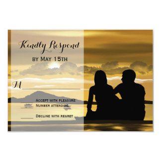 Sunset Silhouette Mountain Lake Wedding RSVP Cards Personalized Announcements