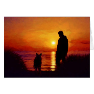 Sunset Silhouette Painting Man and Dog Card