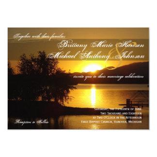 Sunset Silhouette Tree Lake Wedding Invitations