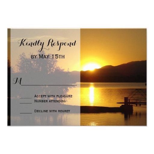 Sunset Silhouette Tree Lake Wedding RSVP Cards