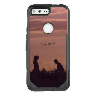 Sunset Silhouettes Nostalgic Photo Custom Name OtterBox Commuter Google Pixel Case