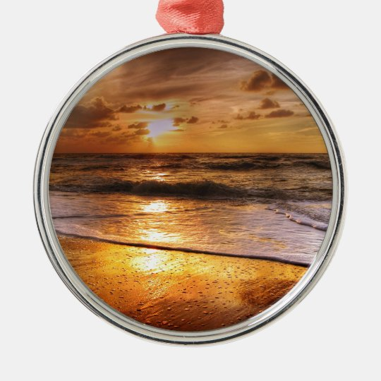 Sunset Silver-Colored Round Ornament