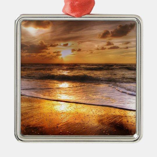Sunset Silver-Colored Square Ornament