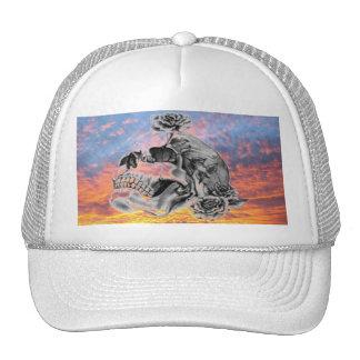 Sunset Skull & Roses Baseball Hat