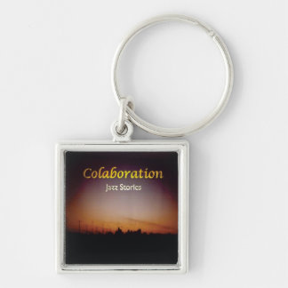 Sunset Sky Jazz Stories Album Cover Art Orange Silver-Colored Square Keychain