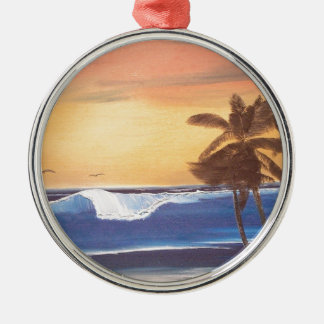 Sunset Sky, Palms & Ocean Metal Ornament