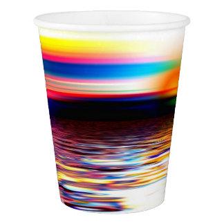 Sunset Sky Sea Ocean Waves Modern Art Paper Cups
