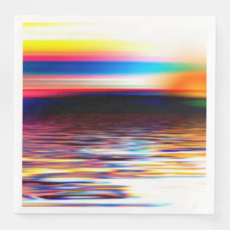 Sunset Sky Sea Ocean Waves Modern Art Paper Napkin