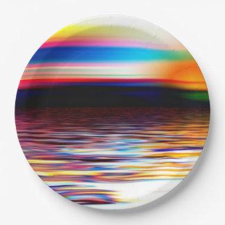Sunset Sky Sea Waves Modern Art Paper Plates
