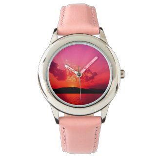 Sunset sky watch with pink strap
