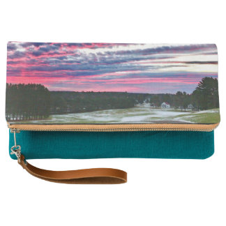 Sunset Small White House Rural Scene Clutch