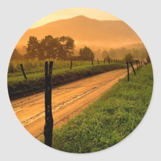 Sunset Ss Lane At Cades Cove Nationa Classic Round Sticker