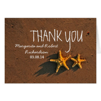 Sunset starfish couple wedding thank you card