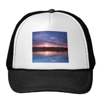 Sunset Still Lake At Dusk Mesh Hat