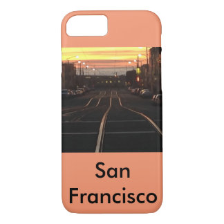 Sunset streetcar to the beach iPhone 7 case