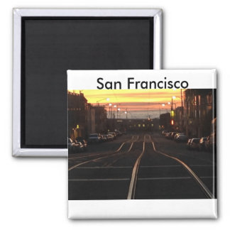 Sunset streetcar to the beach. square magnet