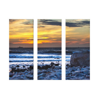 Sunset Surf and Rocky Beach Canvas Print