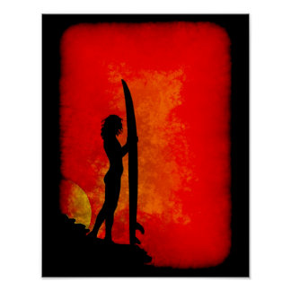 Sunset Surfer Girl Poster