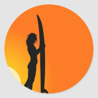 Sunset Surfer Girl with surfboard Classic Round Sticker
