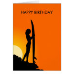 Sunset Surfer Girl with surfboard Happy Birthday Greeting Card