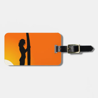 Sunset Surfer Girl with surfboard Luggage Tag