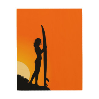 Sunset Surfer girl with surfboard Wood Prints