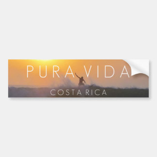 Sunset Surfer Pura Vida Costa Rica Bumper Bumper Sticker