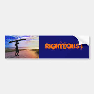 Sunset Surfer Sand & Clouds Bumper Sticker