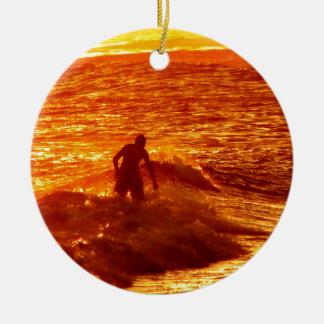 Sunset Surfing Ceramic Ornament